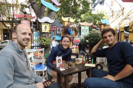 Drinking Serbian traditional spirit drink rakija in Blaznavac bar